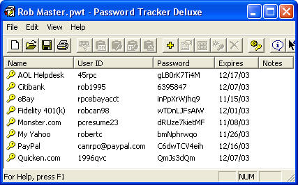 Click to view Password Tracker Deluxe 3.64 screenshot